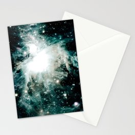 Orion Nebula Teal Green Gray Stationery Cards
