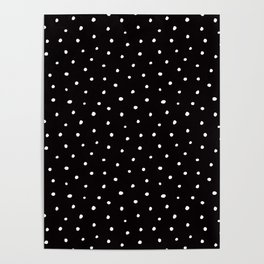 Minimal- Small white polka dots on black - Mix & Match with Simplicty of life Poster