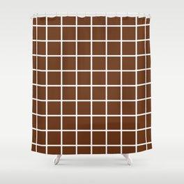 GRID DESIGN (WHITE-BROWN) Shower Curtain