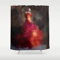 dress Shower Curtains featuring Fire dress by Dnzsea