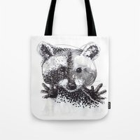 racoon Tote Bags featuring Racoon by Faustine BLESSON