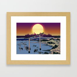 Synthwave Space: Views of mount Fuji #1 Framed Art Print