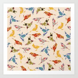 Vintage Wallpaper Birds Art Print