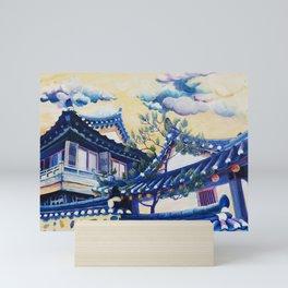 Blue Hanok Mini Art Print