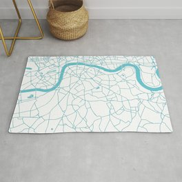 London White on Turquoise Street Map Rug