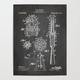 Rocket Ship Patent - Nasa Rocketship Art - Black Chalkboard Poster
