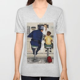If Norman Rockwell Lived in Today's Society Unisex V-Neck