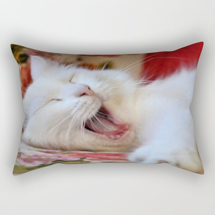 Cute Portrait Of A Yawning Van Cat Rectangular Pillow