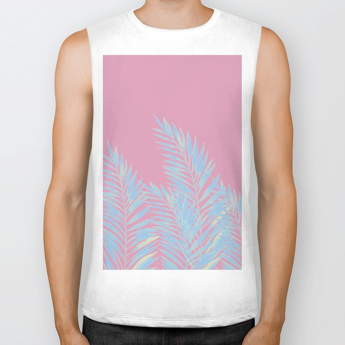 Palm Leaves Blue And Pink Biker Tank