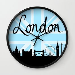 London Script on Union Jack Sky & Sites Wall Clock