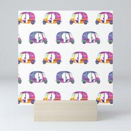 Funky rickshaws pattern Mini Art Print