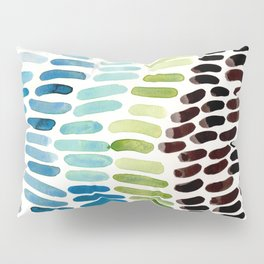 Blue & Green Colorful Aquatic Watercolor Organic Pattern Natural Art Abstract Mid Century Modern Pla Pillow Sham