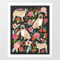 Pugs of spring floral pug dog cute pattern print florals flower garden nature dog park dog person  Art Print