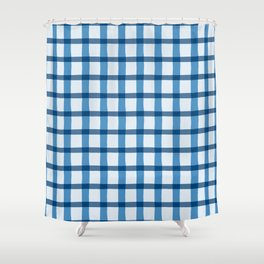 Blue and White Jagged Edge Plaid Shower Curtain