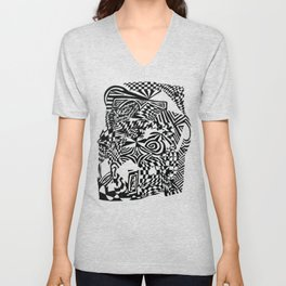 Face, Black/White Abstract (ink drawing) Unisex V-Neck