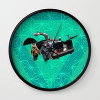 ewok Wall Clocks featuring What if an ewok was Back to the Future under Mary's umbrella with Zazu ? by AmDuf