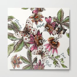Tropical pattern with passionflower and butterlies Metal Print