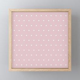 Polka dot dance on pink - White dots pattern Framed Mini Art Print