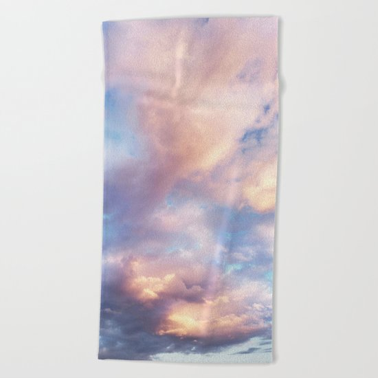 Sunset | Pink Clouds | Sky | Rainbow | Unicorn Colours | Nature Beach Towel