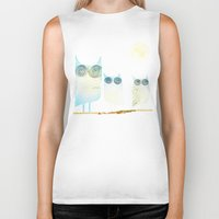 owls Biker Tanks featuring Owls by Brontosaurus