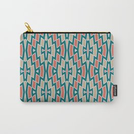 Fragmented Diamond Pattern in Teal, Coral and Tan Carry-All Pouch