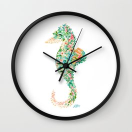 Tropical Seahorse Beach Florals Wall Clock