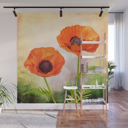 Two beautiful poppies with textures Wall Mural