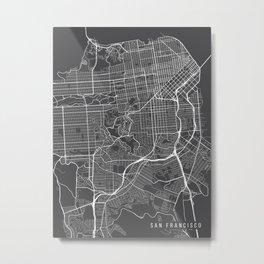 San Francisco Map, California USA - Charcoal Portrait Metal Print