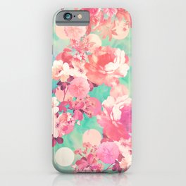 Romantic Pink Retro Floral Pattern Teal Polka Dots iPhone Case