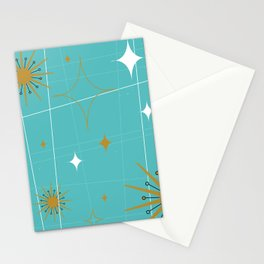 Atomic Burst Teal White and Gold Stationery Cards