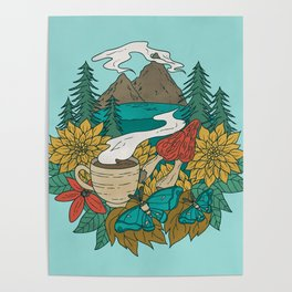 Pacific Northwest Coffee and Nature Poster