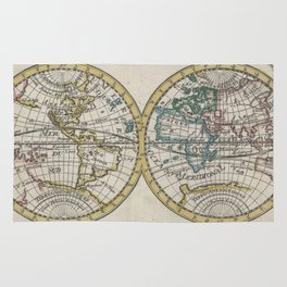 Vintage Map of The World (1706) Rug