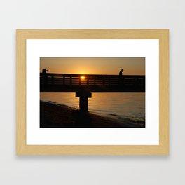Dock at sunset Framed Art Print