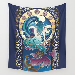 Blue Mermaid with anchor art nouveau design Wall Tapestry