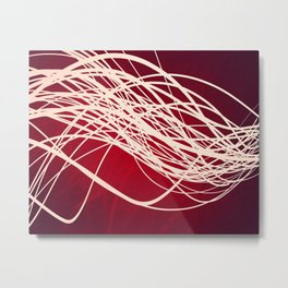Linear Flow-Red Complex Metal Print
