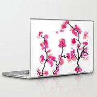 cherry blossoms Laptop & iPad Skins featuring Cherry Blossoms by Amaya