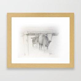 Cow and Calf Framed Art Print