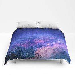 Blue Purple Night Sky, Universe, Galaxy Comforters