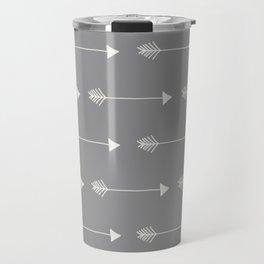 Neutral Grey Tribal Arrows Travel Mug