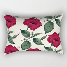 Botanical vintage dark red green ivory floral Rectangular Pillow