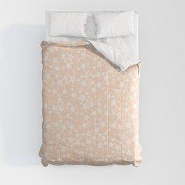 Pretty Peach/Apricot and White Stars Pattern Comforters