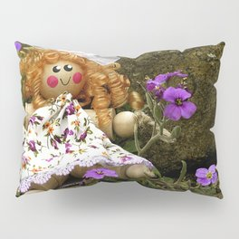 Clothes Peg Doll and Flowers Pillow Sham