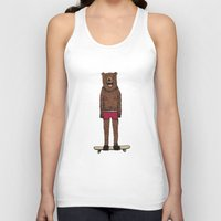 skateboard Tank Tops featuring Bear + Skateboard by Lara Trimming