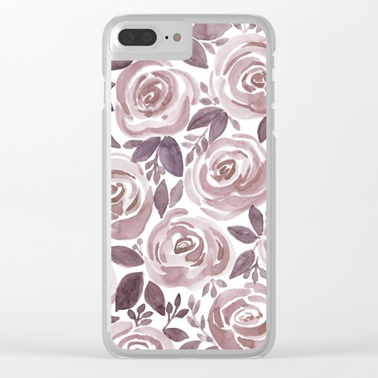 Watercolor brown roses on a white background . Clear iPhone Case
