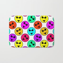 Smiley Bikini Bright Neon Smiles on White Bath Mat