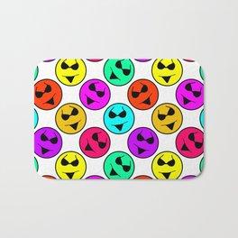 Smiley Bikini Bright Neon Smiles on White Bath Mat