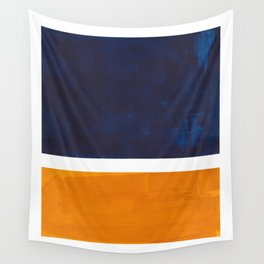 Navy Blue Yellow Ochre Abstract Minimalist Rothko Colorful Mid Century Color Block Pattern Wall Tapestry