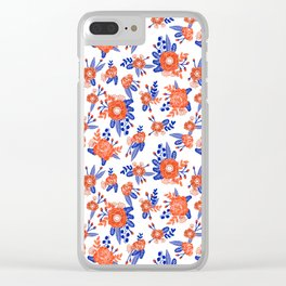Florida floral orange and blue gators swamp varsity minimal university sports football fan Clear iPhone Case
