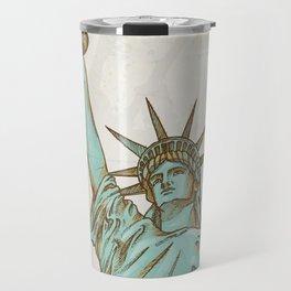 statue of liberty hand dawn Travel Mug