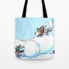 Snowman Building Tote Bag